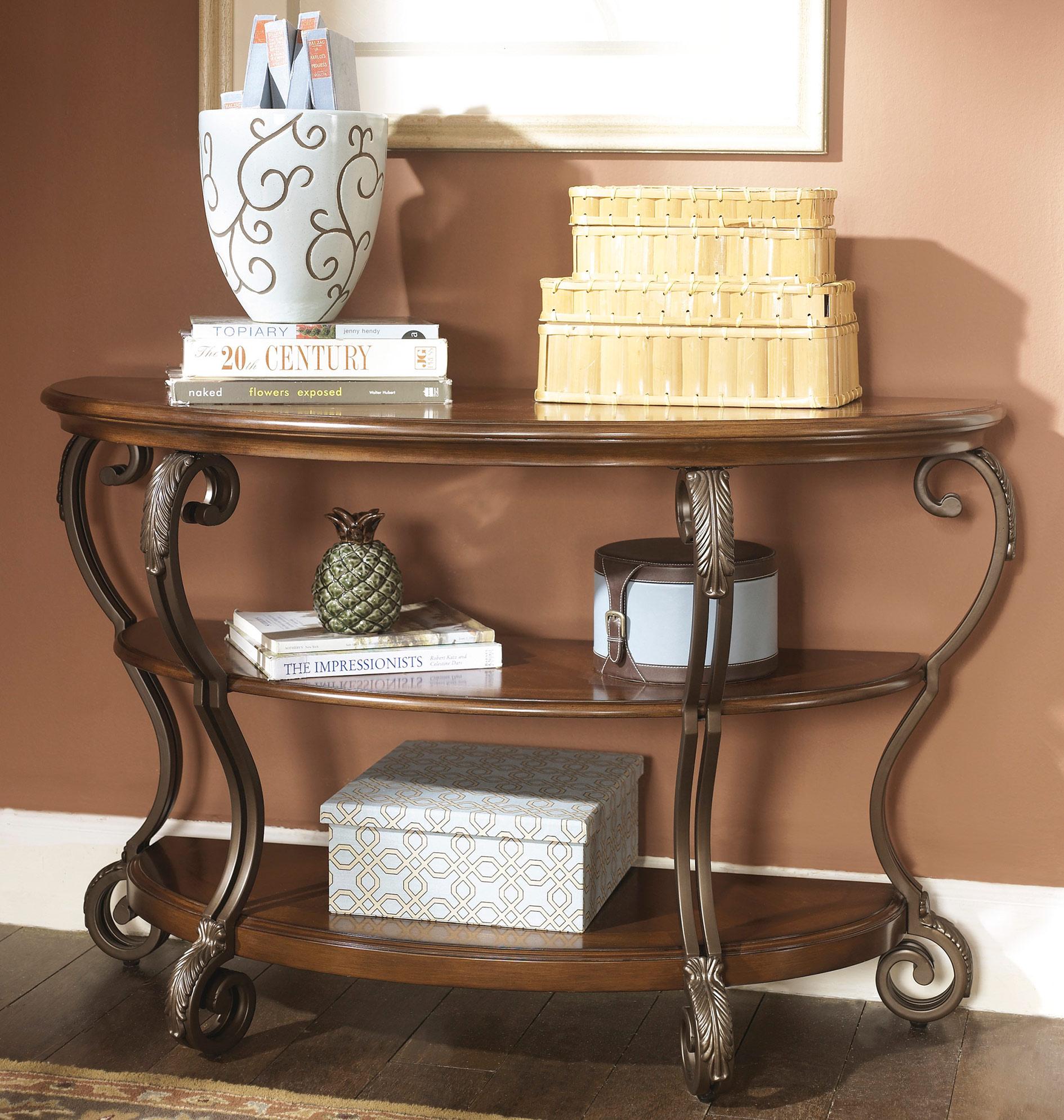 Signature Design by Ashley Nestor Sofa Table - Medium Brown