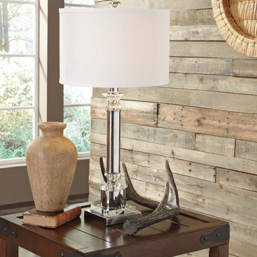 Ashley Marlon Clear and Silver Metal Table Lamp