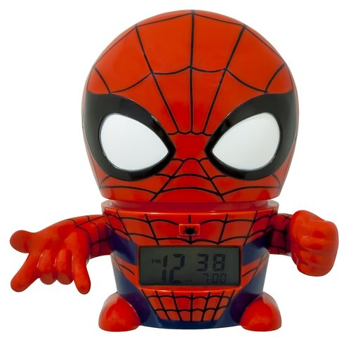 BulbBotz Marvel Spiderman Kids Night Light 5.5-inch Alarm Clock - Red/Blue 12N-S72-2021425