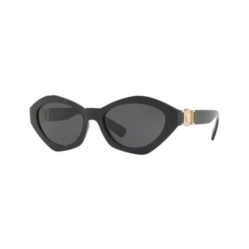 Versace VE4334 Irregular Oval Sunglasses - Black / Grey 67S-G65-VE4334GB187