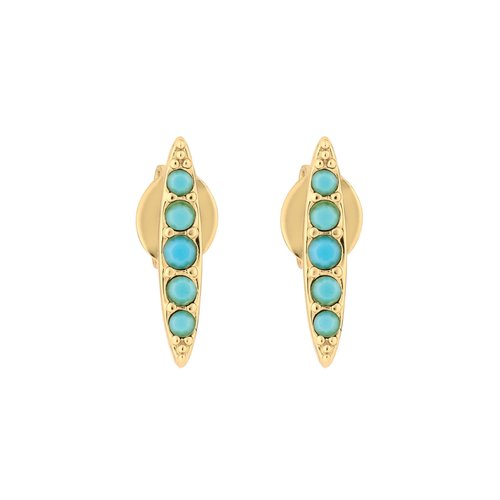 Adore Pave Navette Stud Earrings - Gold/Turquoise 69C-L23-5303122