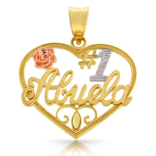 "14k Three Tone Gold ""#1 Abuela"" Heart Pendant"