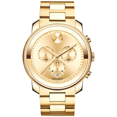 Movado Men's Swiss Chronograph Bold Gold Ion-Plated Stainless Steel Bracelet Watch
