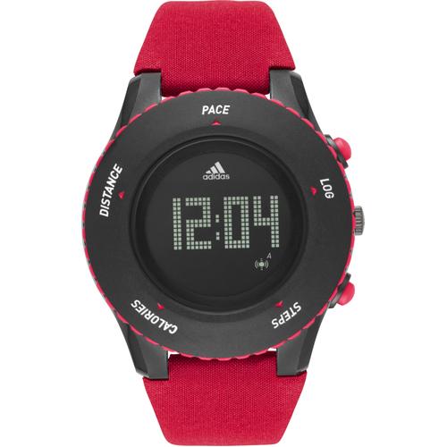 Adidas Men's Sprung Black Digital Multifunction Dial Silicone Strap Watch - Red