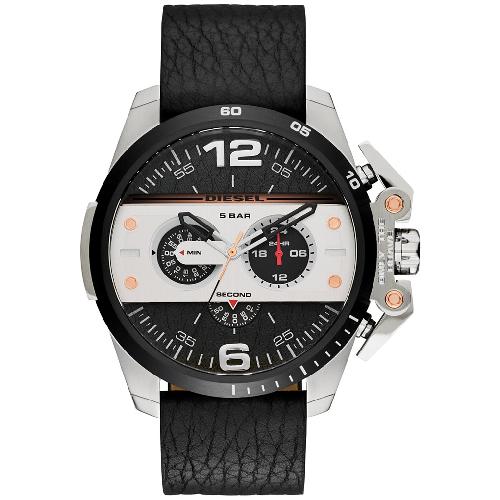 Diesel Men's Chronograph Ironside Leather Strap Watch - Black