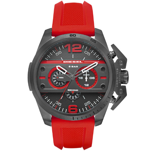 Diesel Men's Chronograph Ironside Rubber Strap Watch - Red