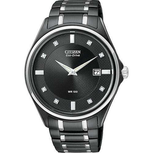 Citizen Black Stainless Steel Eco Drive Diamonds Watch for Men