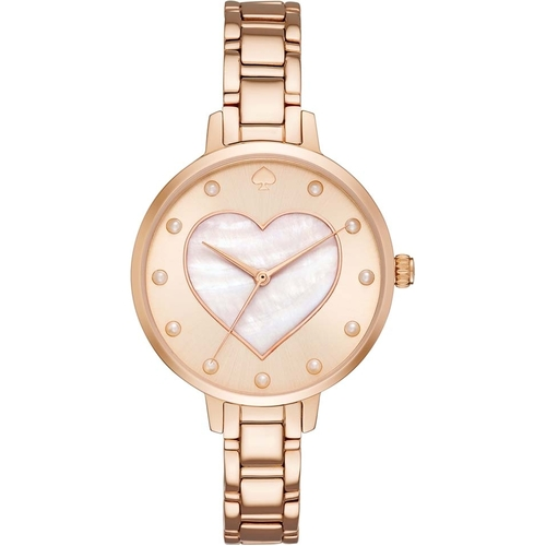 Kate Spade New york Women's Mother of Pearl Heart Dial Stainless Steel Watch - Rose Gold 60J-O48-KSW1216