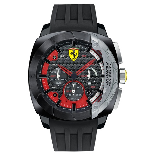 Ferrari Scuderia Men's Aerodinamico Black Carbon Fiber Red Accents Dial Watch with Textured Silicone Band - Black 60M-Q36-830205