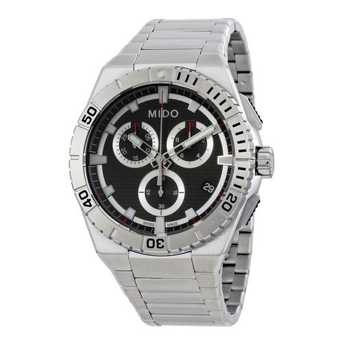 Mido Ocean Star Captain Men's Black Dial Chronograph Watch - Silver