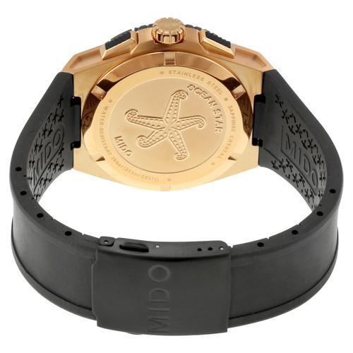 Mido Ocean Star Captain Men's Black Dial Chronograph Rubber Strap Watch - Black