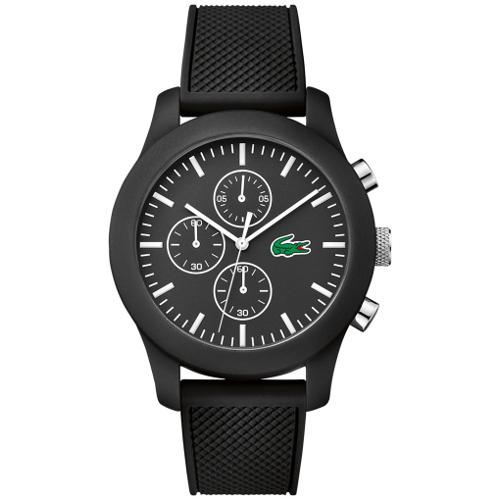 Lacoste Chronograph 12.12 Silicone Strap Watch - Black