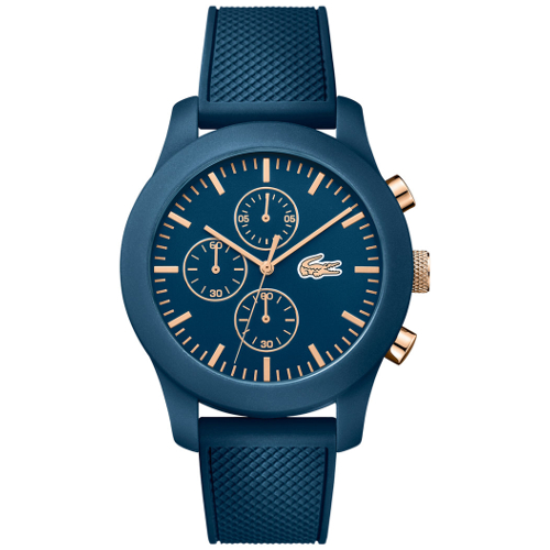 Lacoste Chronograph 12.12 Blue Silicone Strap Watch