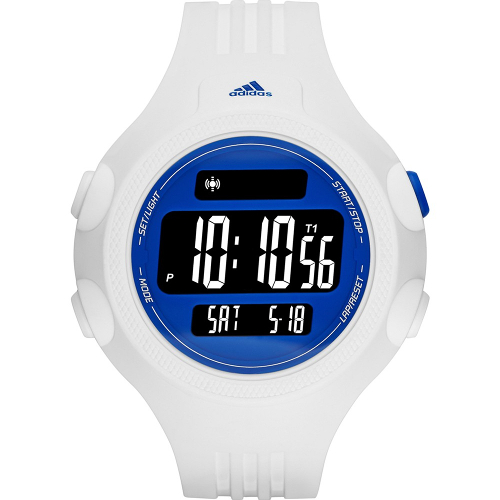 Adidas Performance Digital Questra Polyurethane Strap Watch - White