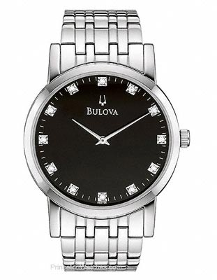 Bulova Stainless Steel Watch with Black Dial