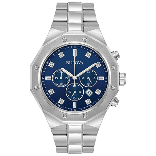 Bulova Men's Chronograph Diamond Accent Stainless Steel Bracelet Watch