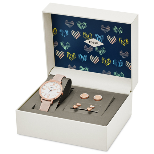 Fossil Women's Jacqueline Pink Leather Strap Watch and Stud Earrings Box Set