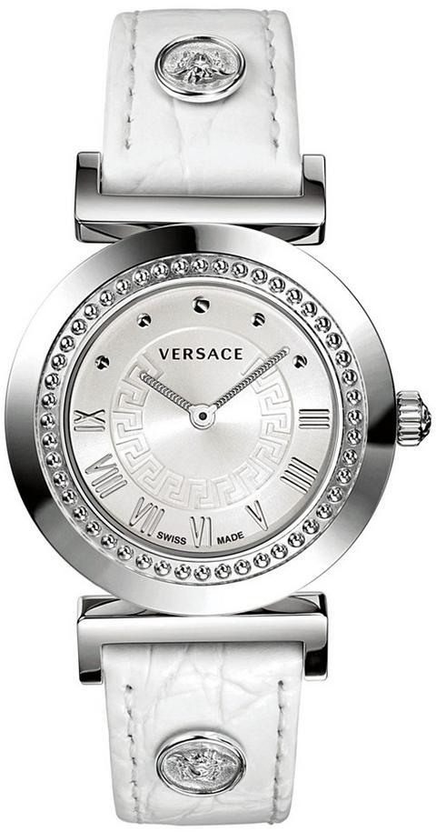 Versace Women's Swiss Vanity Croco Calfskin Leather Strap Watch - White