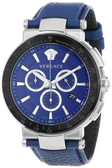 Versace Mystique Sport Men's Chronograph Leather Strap Watch - Blue