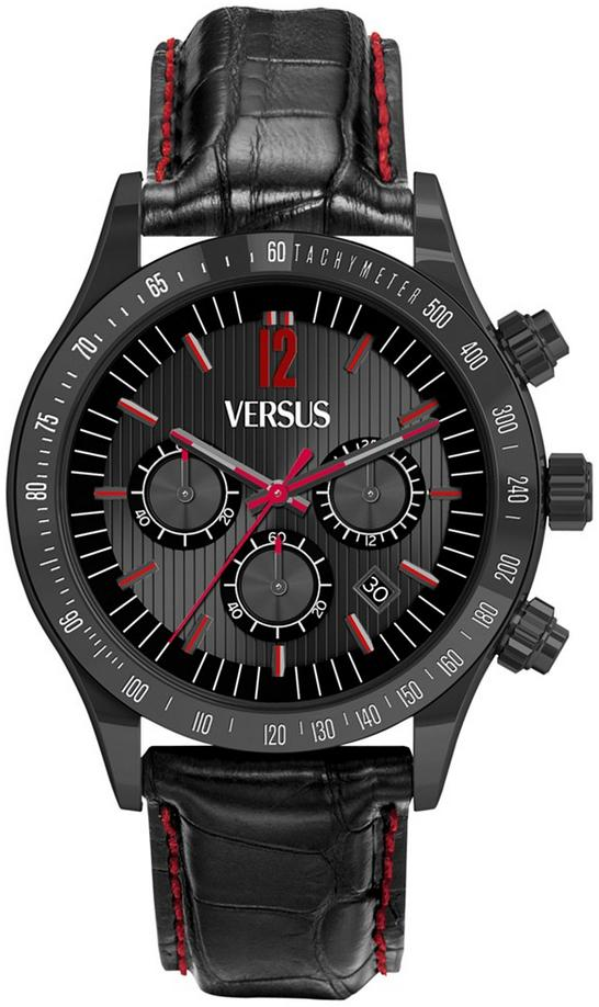 Versus by Versace Men's Chronograph Cosmopolitan Leather Strap Watch - Black