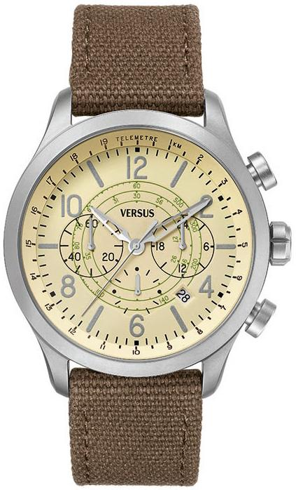 Versus by Versace Soho Round Gun Ion-Plated Stainless Steel Canvas Strap Watch - Brown