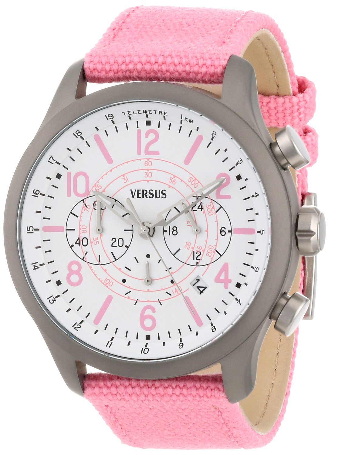 Versus by Versace Soho Round Gun Ion-Plated Stainless Steel Canvas Strap Watch - Pink