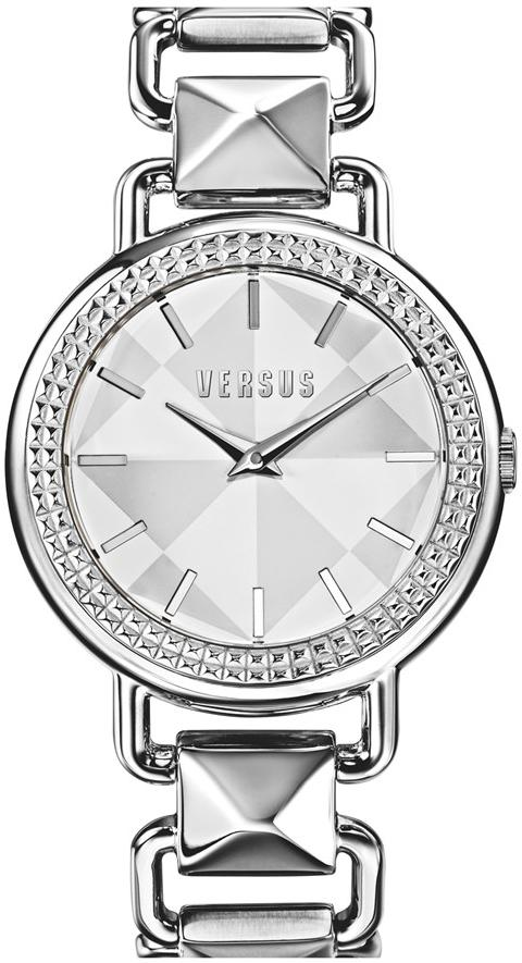 Versus by Versace Women's Coconut Grove Ion-Plated Pyramid Stud Link Bracelet Watch - Silver
