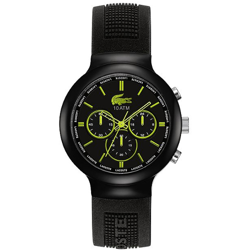 Lacoste Men's L!VE Chronograph Borneo Silicone Strap Watch - Black