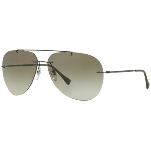 Prada PS50PS Linea Rossa Aviator Red Feather Sunglasses - Military Green Demi Shiny / Green Gradient 67N-G65-PS50PSROV4M1