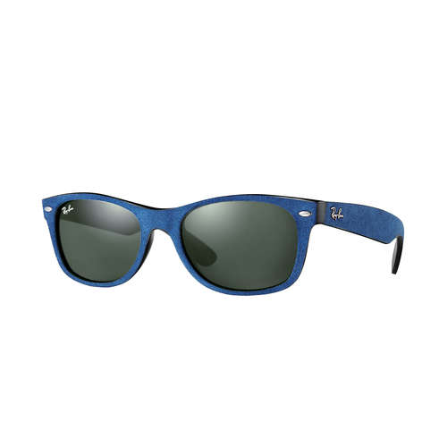 Ray-Ban RB2132 New Wayfarer Soft Touch Sunglasses - Black-Top Blue Alcantra / Green