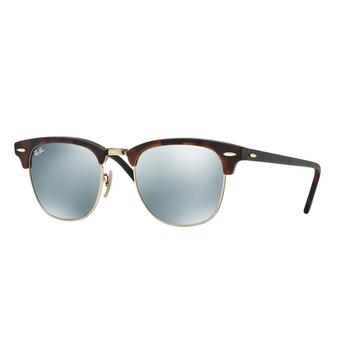 Ray-Ban 3016 Clubmaster Sunglasses - Sand Havana-Gold / Light Green Mirror Silver 67R-G65-RB3016114530