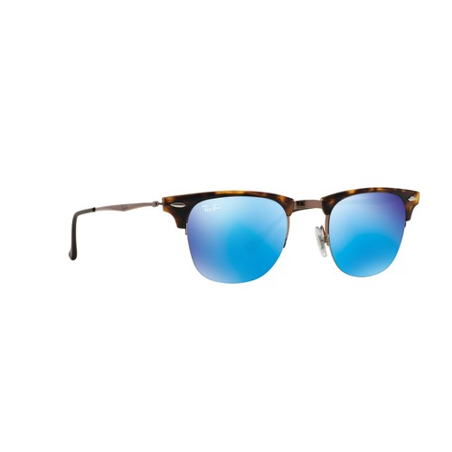 Ray-Ban Clubmaster Light Ray Square Sunglasses - Shiny Light Brown/Blue Mirror 67R-G65-RB8056175/55