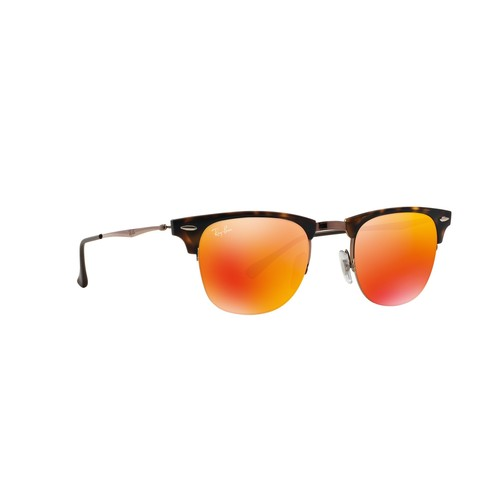 Ray-Ban Clubmaster Light Ray Squared Sunglasses - Shiny Light Brown/Red Mirror 67R-G65-RB8056175/6Q