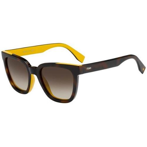 056693415224 Fendi Color Flash FF 0121 S Sunglasses - Havana Ochre Yellow   Brown  Gradient