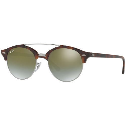 Ray-Ban RB4346 Clubround Double Bridge Sunglasses - Shiny Red Havana / Green Flash Gradient Mirror