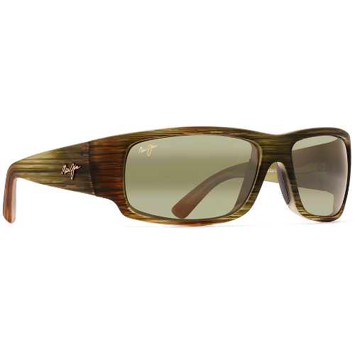 Maui Jim World Cup Sunglasses - Matte Green Stripe Rubber / Maui HT Polarized 67W-L26-HT266/15MR