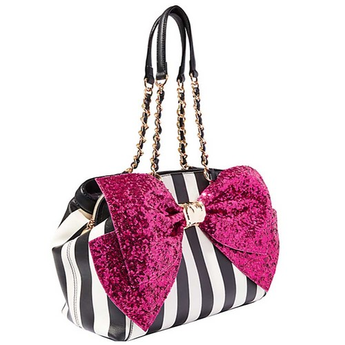 Betsey Johnson Bow-Lesque Satchel - Stripe/Fuchsia