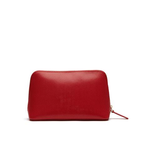 Lacoste Women's Chantaco Leather Zip Makeup Pouch - Pompeian Red