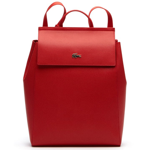 Lacoste Chantaco Piqué Leather Backpack - Red
