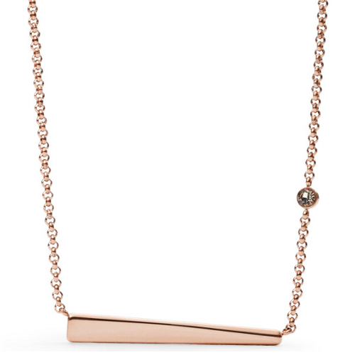 Fossil High Tide Plaque Necklace - Rose Gold