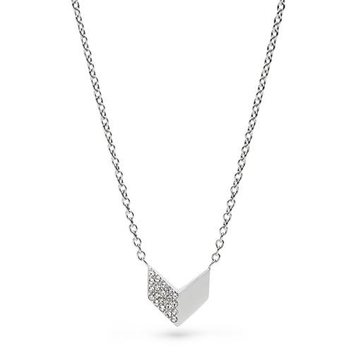 Fossil Vintage Glitz Chevron Pendant Necklace - Silver