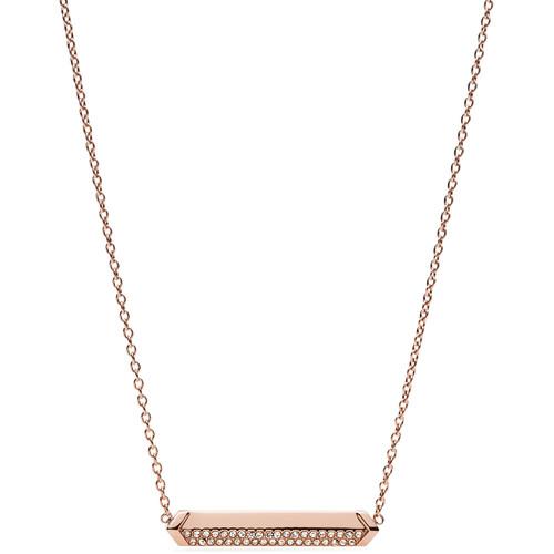 Fossil Vintage Glitz Plaque Necklace - Rose Gold