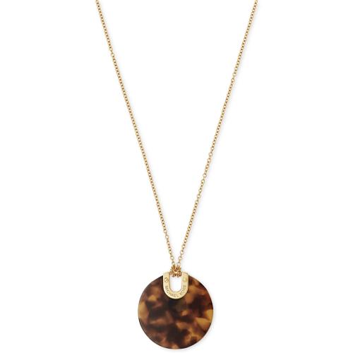 Michael Kors Gold-Tone Tortoise-Look Acetate Disc Pendant Necklace
