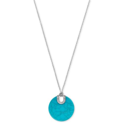 Michael Kors Silver-Tone Blue Acetate Disc Pendant Necklace