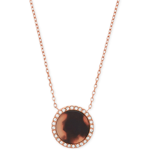 Michael Kors Rose Gold-Tone Blush Tortoise-Look Pave Disc Pendant Necklace