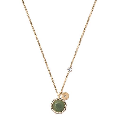 Michael Kors Urban Rush Green Jade and Gold-Tone Pendant Necklace