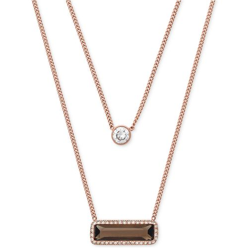 Michael Kors Rose Gold-Tone Smoky Quartz and Crystal Layered Necklace