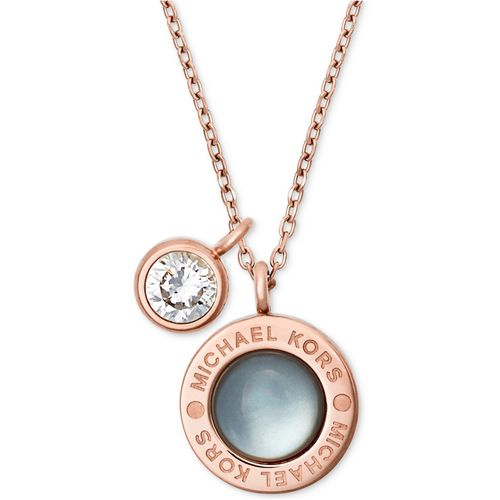 Michael Kors Mother of Pearl Logo Necklace - Rose Gold