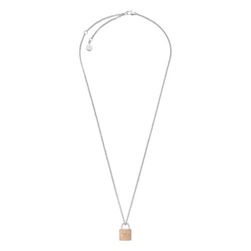 Michael Kors Tri-Tone Ridged Padlock Pendant Necklace