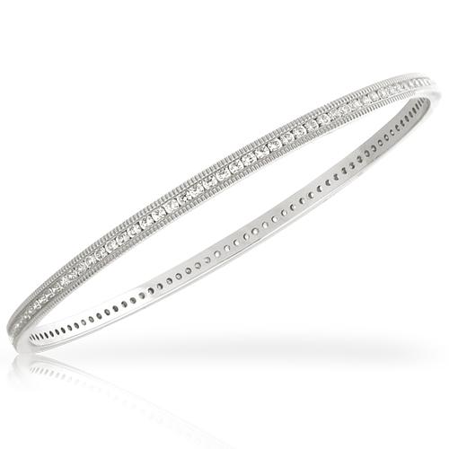 Silver Bracelet with White Zirconia